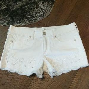 Loft White Eyelet Denim Shorts